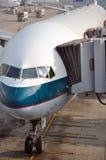 Airplane and parking apron of Hongkong Airport Royalty Free Stock Images