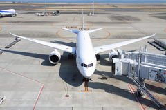 Airplane parking at Haneda airport Stock Images