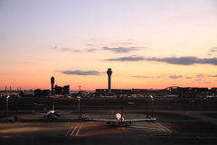 Airplane parking at Tokyo international airport Stock Images