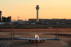 Airplane parking at Tokyo international airport Royalty Free Stock Images