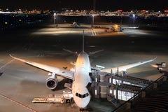 Airplane parking at Tokyo international airport. (night scene Stock Image