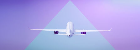 Airplane. Passenger airplane Airbus A360 800 over blue sky, back view Royalty Free Stock Images