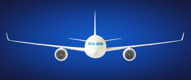 Airplane. Passenger airplane A360 800 on blue background, front view Royalty Free Stock Photography