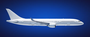 Airplane. Passenger airplane A360 800 on blue background, side view, clipping path included Stock Photos