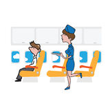 Airplane passenger businessman and air hostess Royalty Free Stock Image