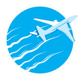 Airplane passenger plane in blue sky. Airplane icon, Aircraft isolated, Airplane isometric, Airplane transport, Airplanes, Airplane commercial, Airplane taking Stock Image