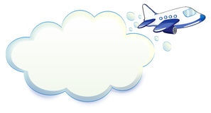 An airplane passing through the cloud. Illustration of an airplane passing through the cloud on a white background vector illustration