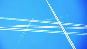 Airplane passing,condense trail remaining. stock video footage