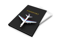 Airplane and Passport Royalty Free Stock Photo