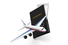 Airplane and Passport Royalty Free Stock Image
