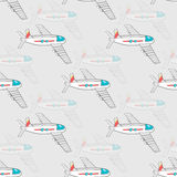 Airplane Pattern. Pattern made from hand drawn airplanes on the gray background Stock Image