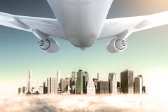 Airplane and peeking city. White airplane and cityscape peeking through clouds. 3D Rendering Royalty Free Stock Images