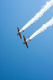 Airplane perform aerobatic Stock Photo