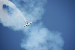 Airplane performing during airshow Royalty Free Stock Photography