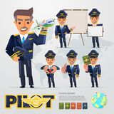 Airplane Pilot character in various action with graphic elements. typographic design. Illustration Royalty Free Stock Photography