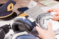 Airplane pilot equipment Stock Images