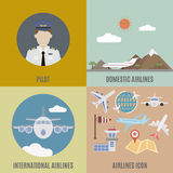 Airplane pilot. International and domestic airline Stock Photography