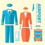 Airplane pilot and stewardess uniform on flat Royalty Free Stock Photography