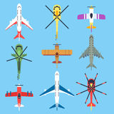 Airplane, plane, helicopter, jet top view flat vector icons Stock Image