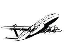 Airplane, plane on takeoff, passenger plane. Airlines. Airport and travel transport. Business and economy class. Symbol. And icon vector design, monochrome Royalty Free Stock Photo