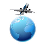 Airplane and planet Earth. Airplane and planet Earth is isolated on a white background Royalty Free Stock Images