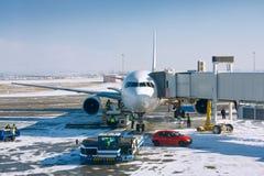 Airplane prepare to boarding stock image