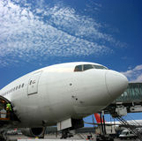 Airplane preparing for departure Stock Photo
