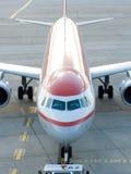 Airplane preparing to flight Stock Photo