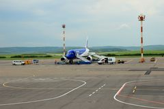 Airplane preparing to flight,Chisinau, Moldova, May 21, 2014 Stock Photo