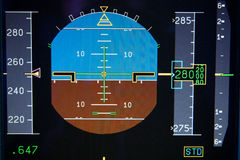 Airplane Primary Flight Display - PFD. Primary Flight Display - PFD of an modern passenger jet like Airbus or Boeing with the speed tape, artificial horizon stock image
