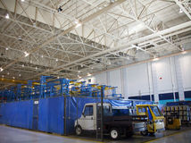 Airplane Production Factory. Inside Aerospace Production Facility Shipping stock photos