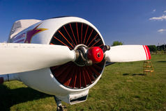 Airplane propeller. Sport aviation plane propeller, close view Royalty Free Stock Photography