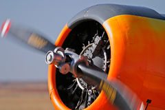 Airplane propeller. Turning propeller of an airplane stock photography