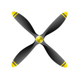 Airplane propeller. With 4 blades vector illustration