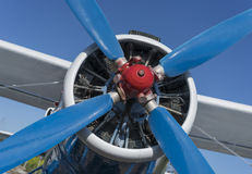 Airplane propeller with engine front view. Close-up Royalty Free Stock Photo