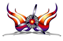 Airplane Propeller with Flames. Behind it. The flames resemble wings royalty free illustration