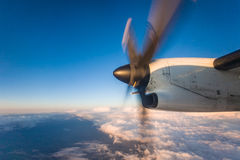 Airplane Propeller in Flight Stock Photo