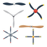 Airplane propeller set vector illustration isolated on white background Royalty Free Stock Images
