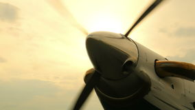 Airplane Propeller Spinning Up Wide stock footage