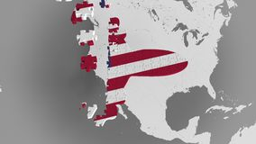 Airplane puzzle featuring flag of the United States against the world map. American tourism conceptual 3D animation. Airplane puzzle featuring flag against world stock video
