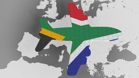 Airplane puzzle featuring flag of South Africa against the world map. SAR tourism conceptual 3D rendering. Airplane puzzle featuring flag against world map royalty free illustration