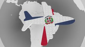 Airplane puzzle featuring flag of the Domican Republic against the world map. Tourism conceptual 3D rendering Stock Photos