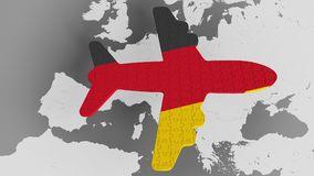Airplane puzzle featuring flag of Germany against the world map. German tourism conceptual 3D rendering. Airplane puzzle featuring flag against world map vector illustration