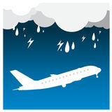 Airplane Rain thunder flight tickets air fly cloud sky trav Stock Photos