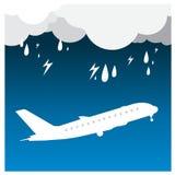 Airplane Rain thunder flight tickets air fly cloud sky trav Stock Photos