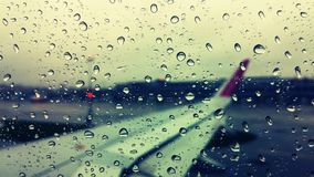 Airplane Rain view Royalty Free Stock Photography