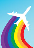 Airplane rainbow Stock Photo