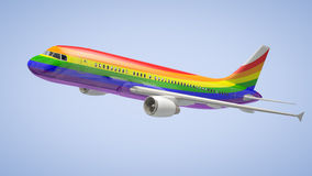 Airplane Rainbow Colours Stock Image