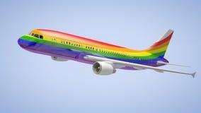 Airplane Rainbow Colours royalty free illustration