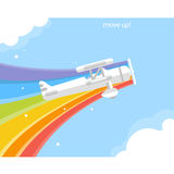 Airplane with a rainbow flying in the sky. Stock Photos